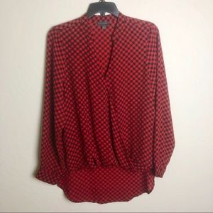 The Limited Red Ginham Blouse M